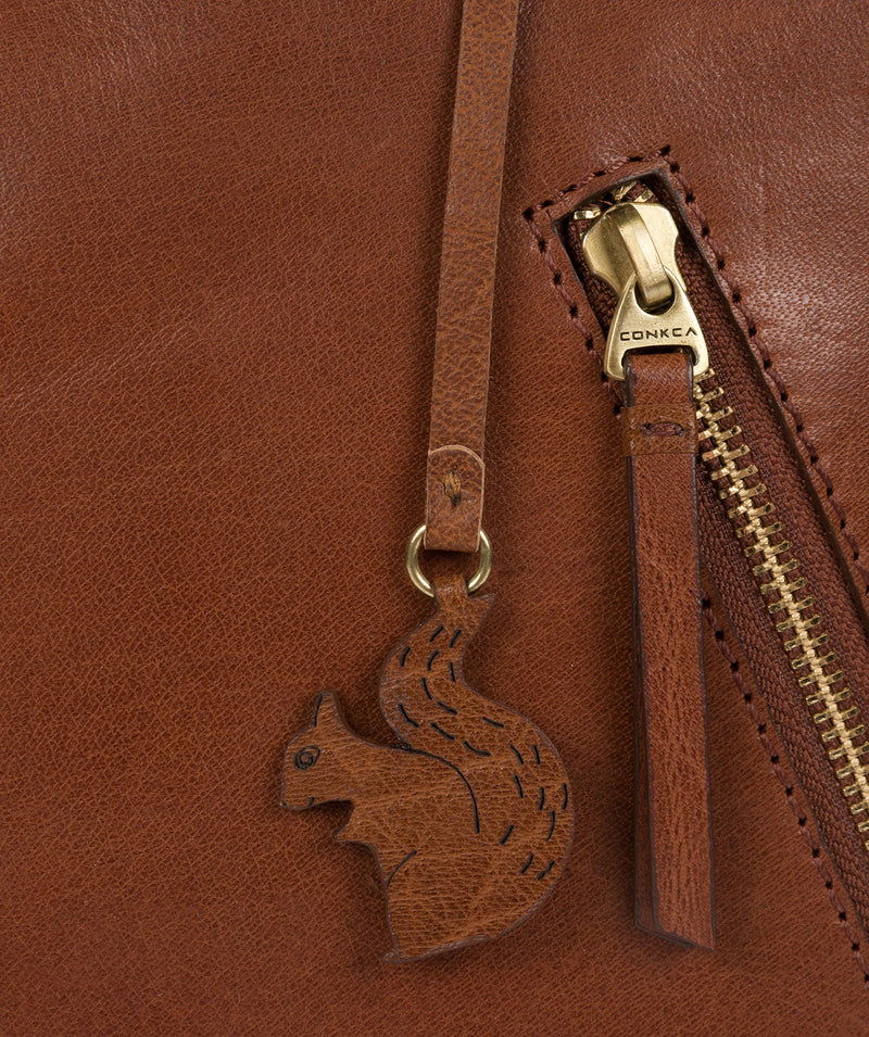 'Zoe' Conker Brown Leather Backpack image 7