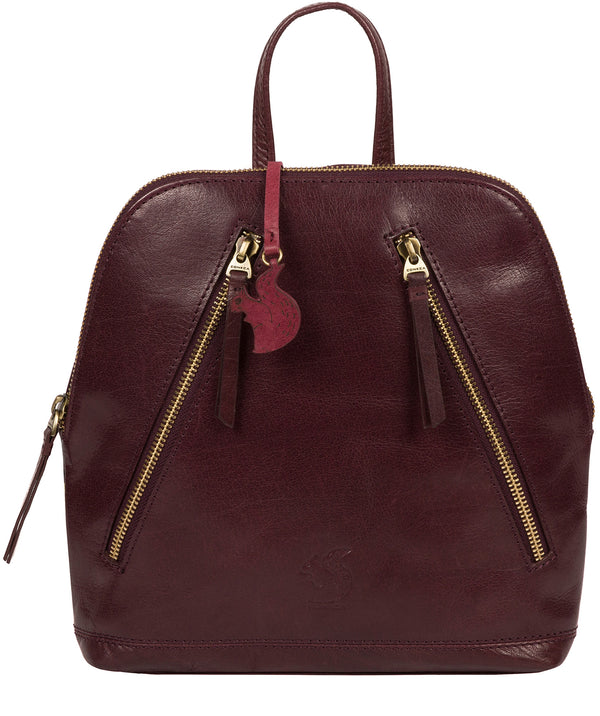 'Zoe' Plum Leather Backpack image 1