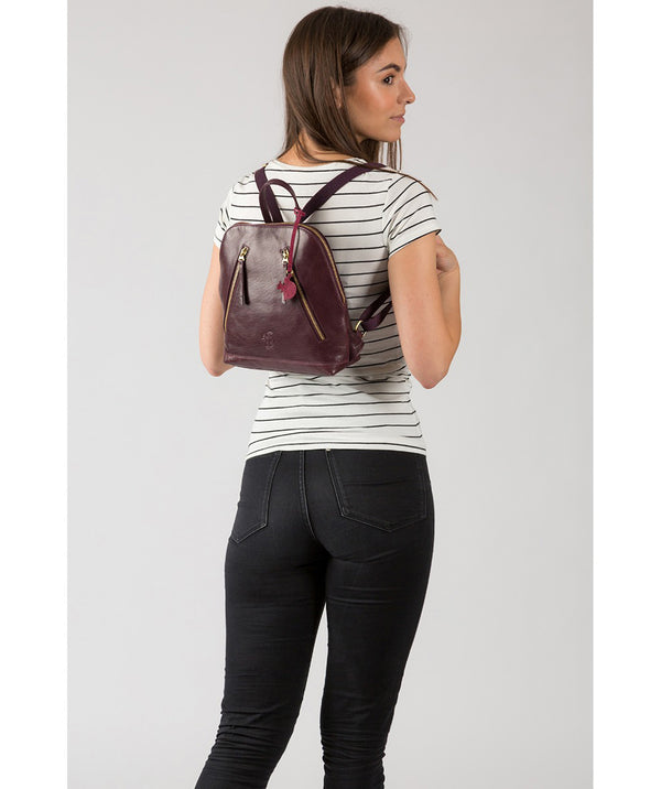 'Zoe' Plum Leather Backpack image 2
