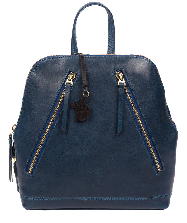 'Zoe' Snorkel Blue Leather Backpack image 1