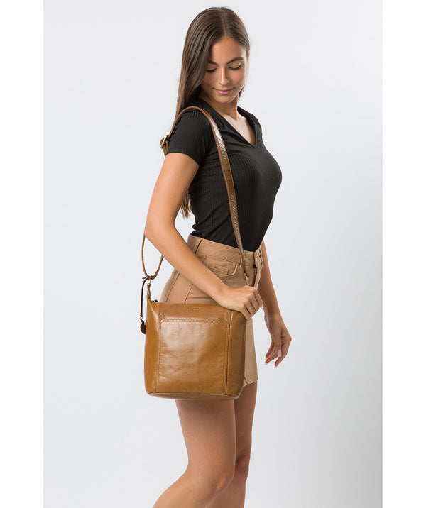 'Yasmin' Dark Tan Leather Cross Body Bag image 2