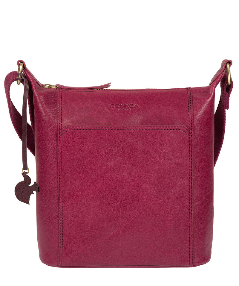 'Yasmin' Orchid Leather Cross Body Bag image 1