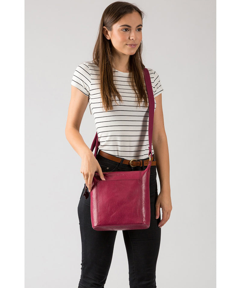 'Yasmin' Orchid Leather Cross Body Bag image 2