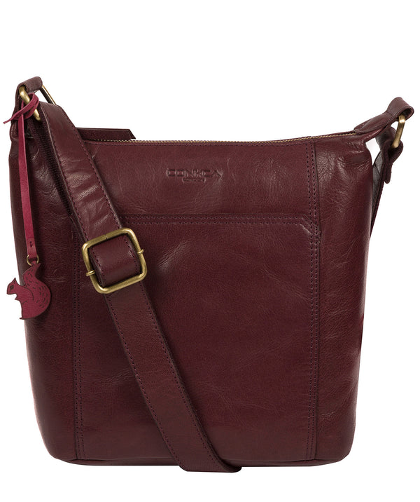 'Yasmin' Plum Leather Cross Body Bag image 1