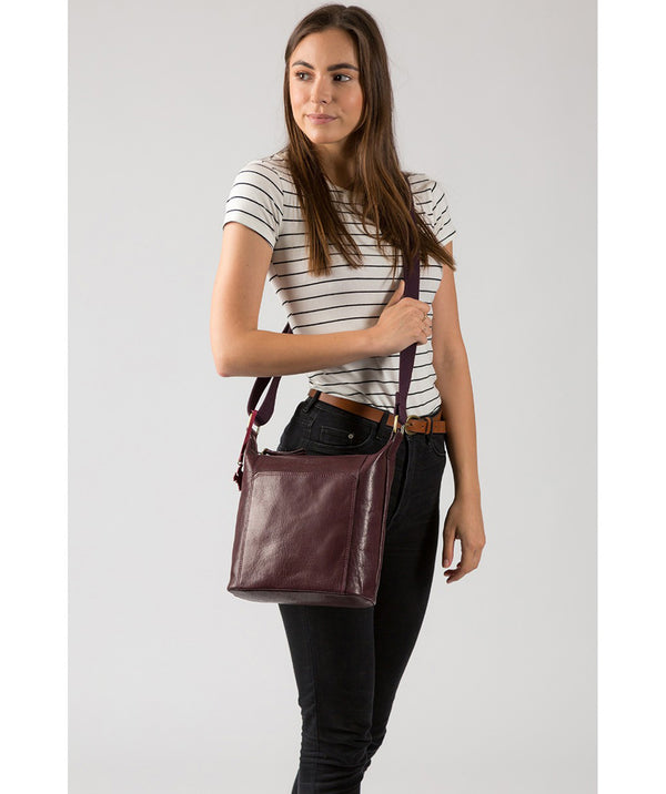 'Yasmin' Plum Leather Cross Body Bag image 2