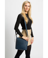 'Yasmin' Snorkel Blue Leather Cross Body Bag image 2