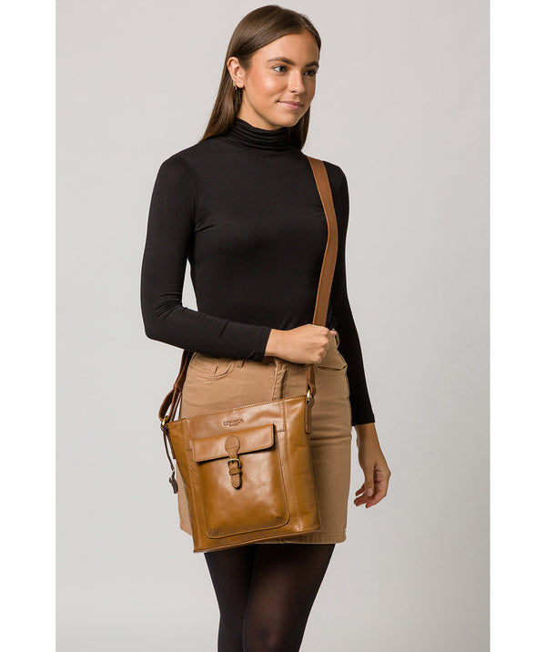 'Vonda' Dark Tan Leather Cross Body Bag image 2