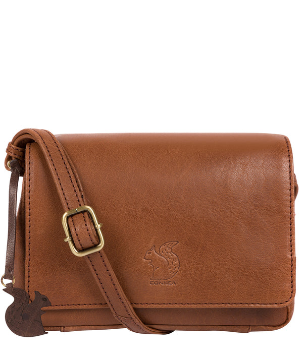 'Marta' Conker Brown Leather Cross Body Bag image 1
