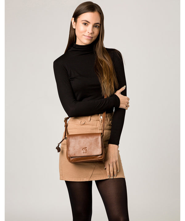 'Marta' Conker Brown Leather Cross Body Bag image 2