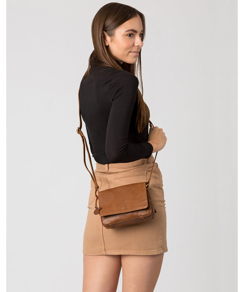 'Marta' Dark Tan Leather Cross Body Bag image 2