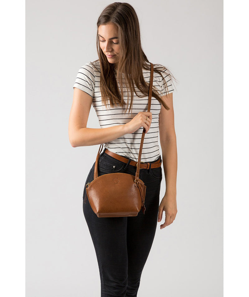 'Wym' Dark Tan Leather Cross Body Bag Pure Luxuries London