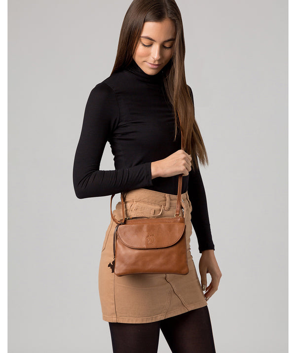 'Tillie' Conker Brown Leather Cross Body Bag image 2