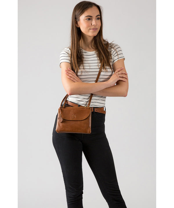 'Tillie' Dark Tan Leather Cross Body Bag Pure Luxuries London