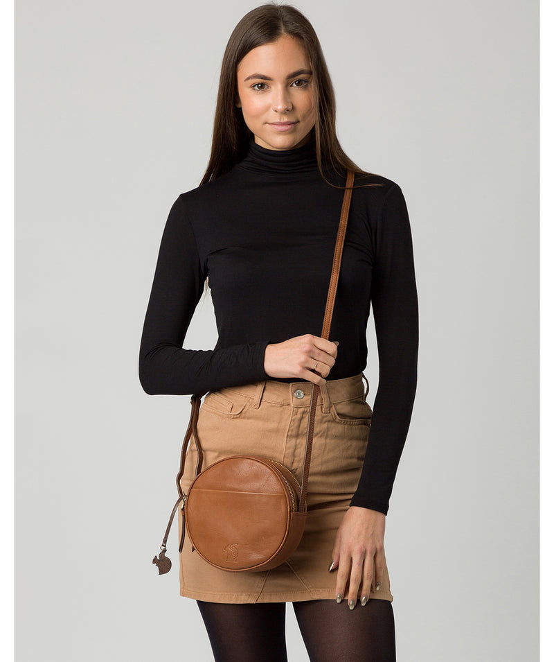 'Rolla' Conker Brown Leather Cross Body Bag image 2