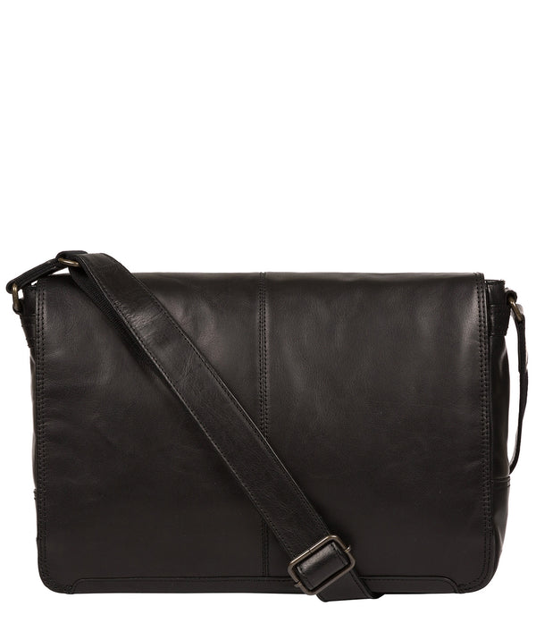 'Leao' Black Leather Messenger Bag image 1