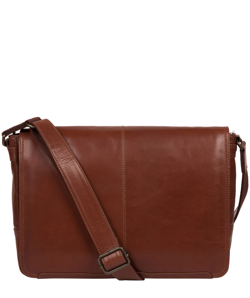 'Leao' Conker Brown Leather Messenger Bag image 1