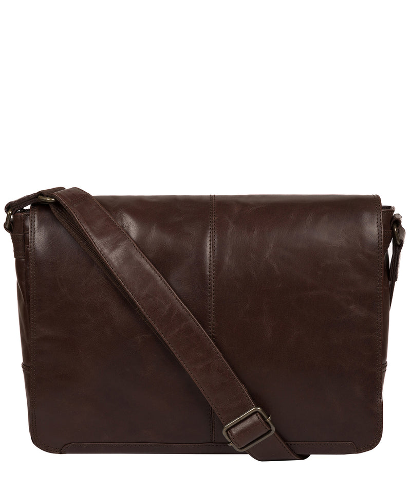 'Leao' Dark Brown Leather Messenger Bag image 1