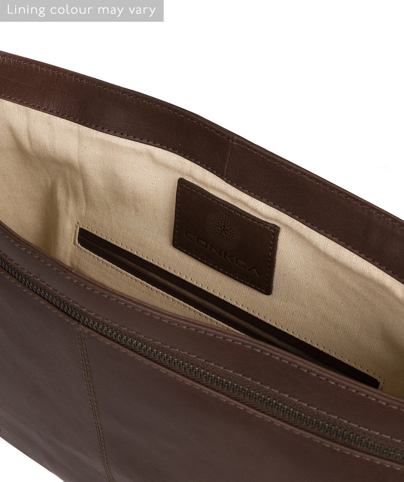 'Leao' Dark Brown Leather Messenger Bag image 4