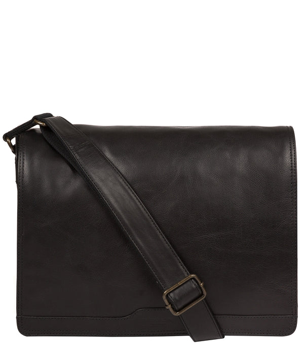 'Zico' Black Leather Messenger Bag image 1