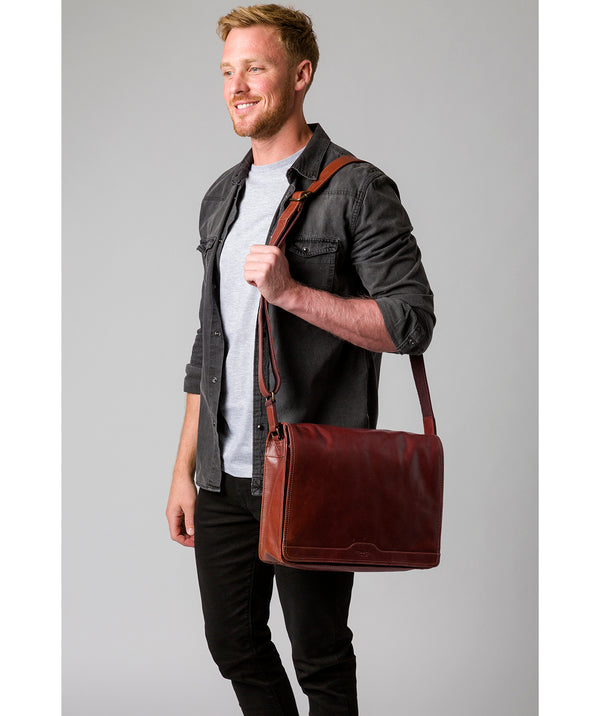 'Zico' Conker Brown Leather Messenger Bag