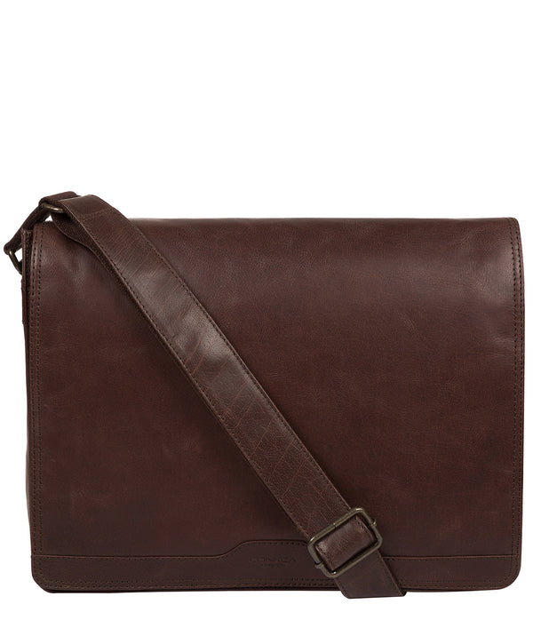 'Zico' Dark Brown Leather Messenger Bag image 1