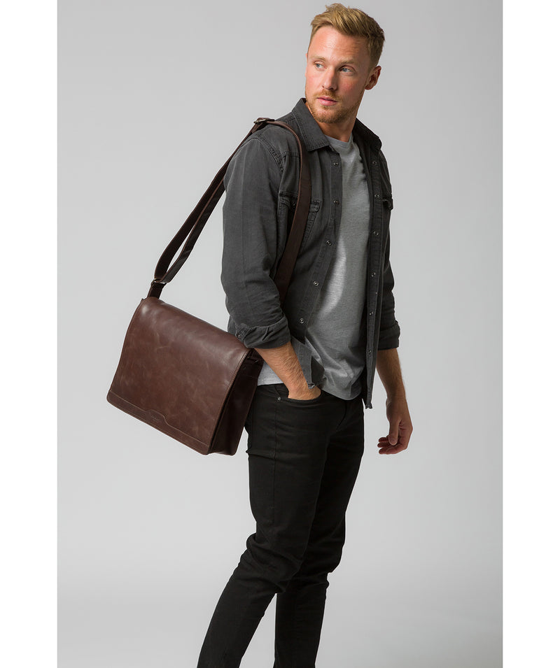 'Zico' Dark Brown Leather Messenger Bag image 2