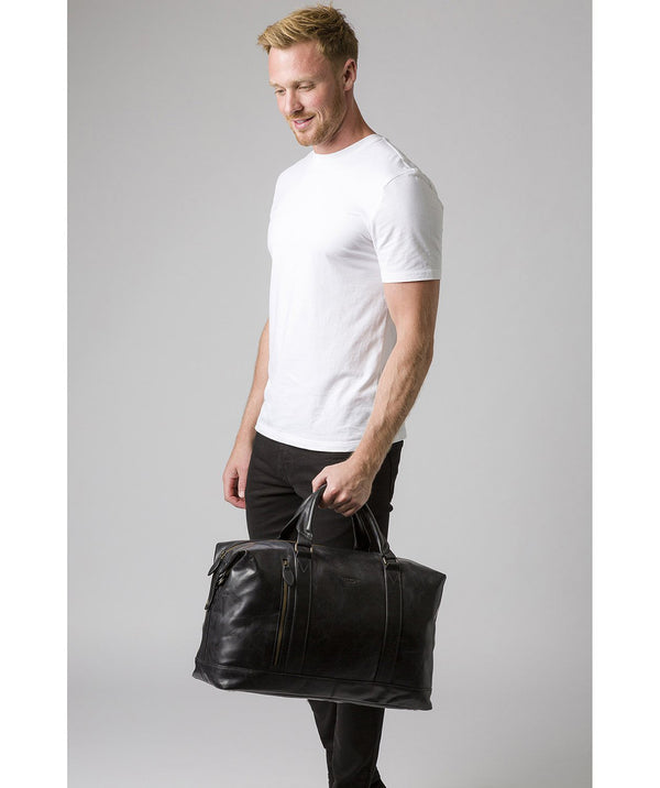 'Rivellino' Black Leather Holdall