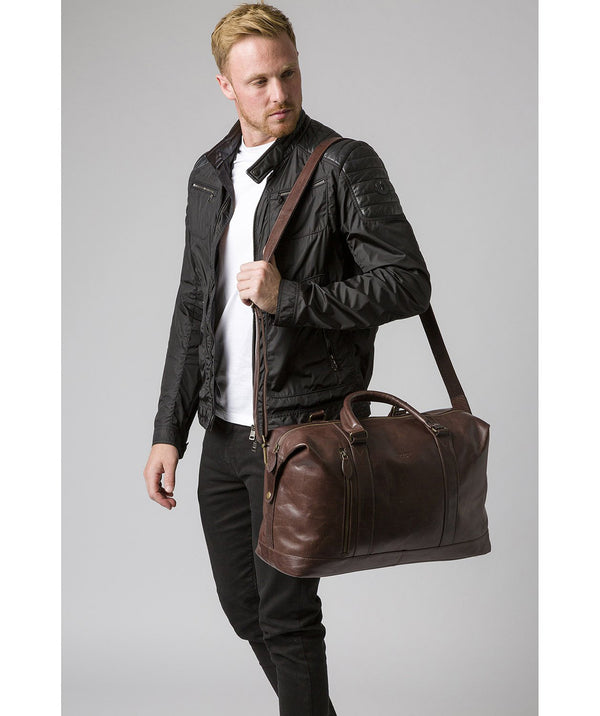 'Rivellino' Dark Brown Leather Holdall