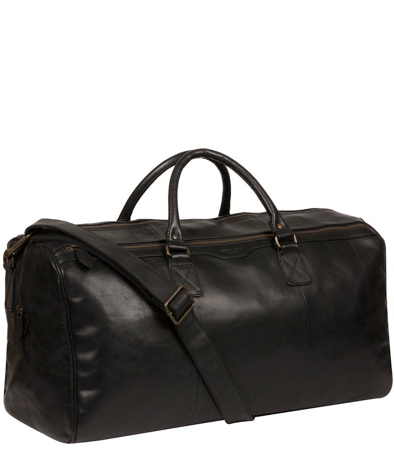 'Edu' Black Leather Holdall image 5