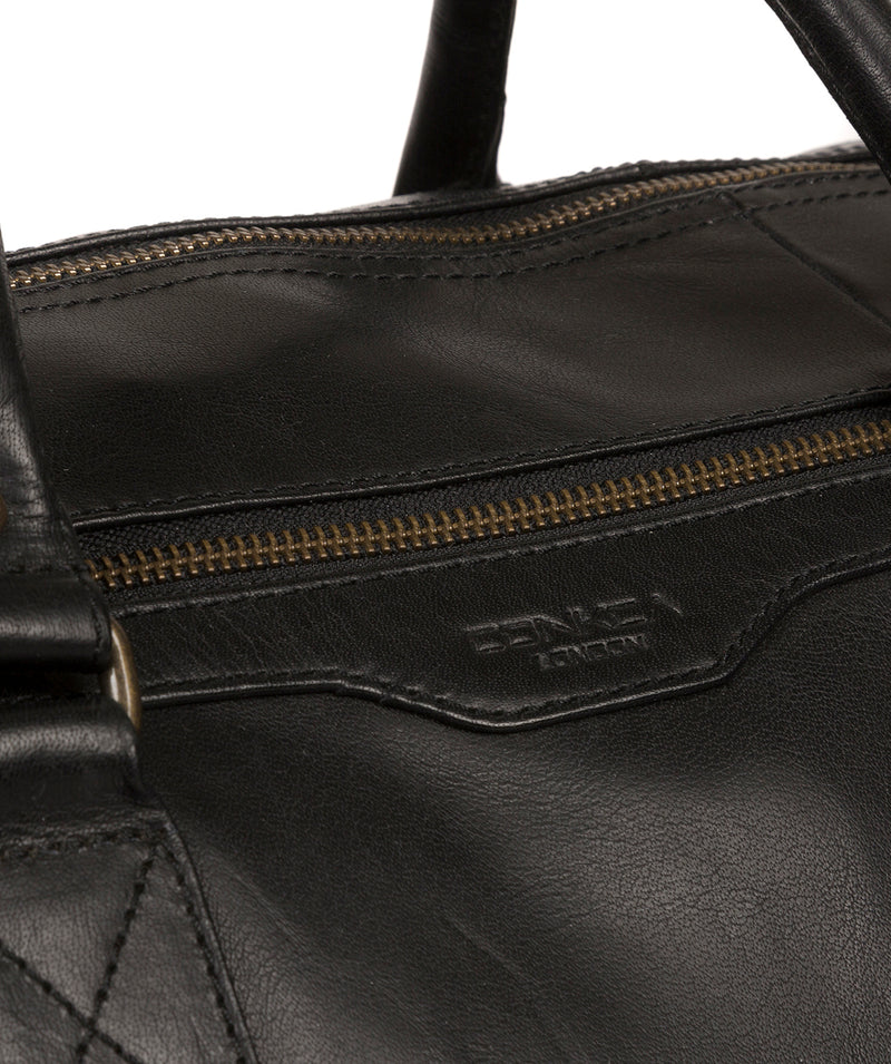 'Edu' Black Leather Holdall image 6