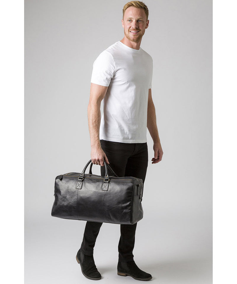 'Edu' Black Leather Holdall image 7