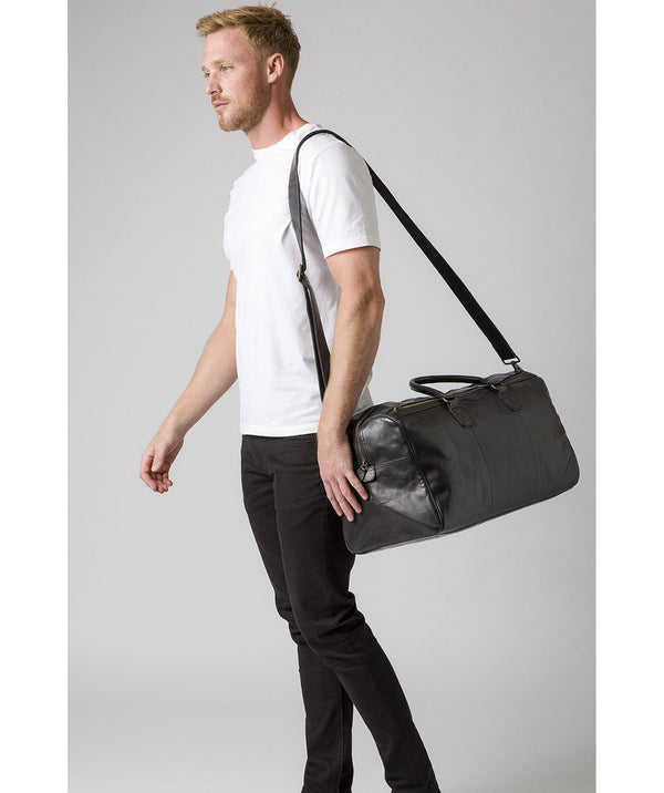 'Edu' Black Leather Holdall