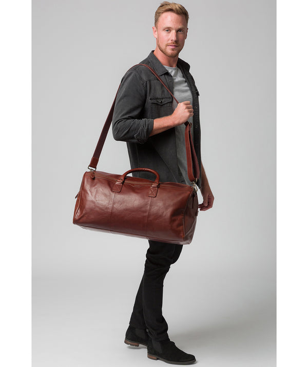 'Edu' Conker Brown Leather Holdall
