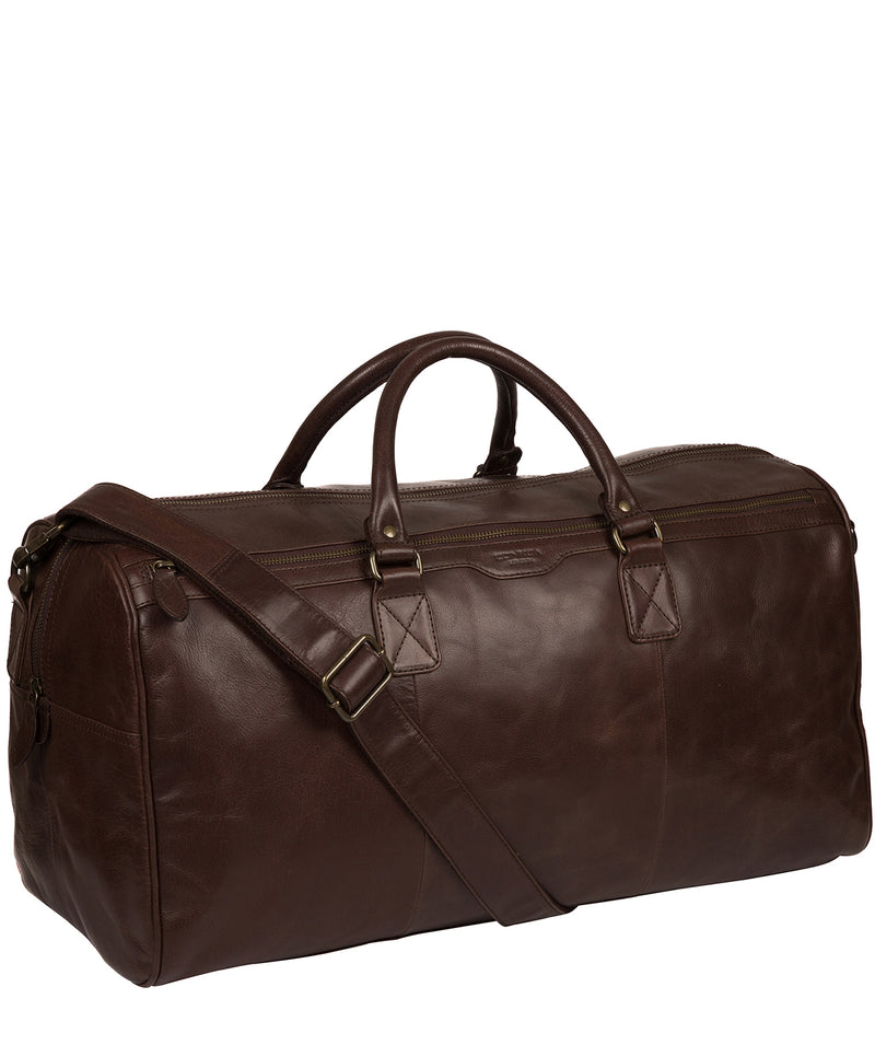 'Edu' Dark Brown Leather Holdall image 5