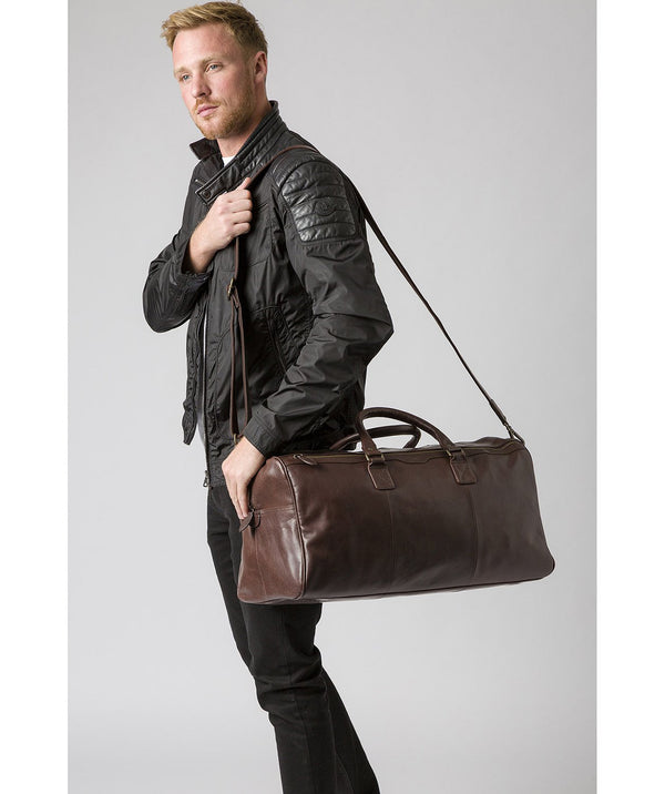'Edu' Dark Brown Leather Holdall