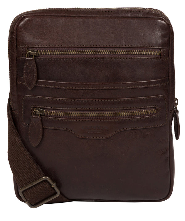 'Jairizinho' Dark Brown Leather Cross Body Bag image 1