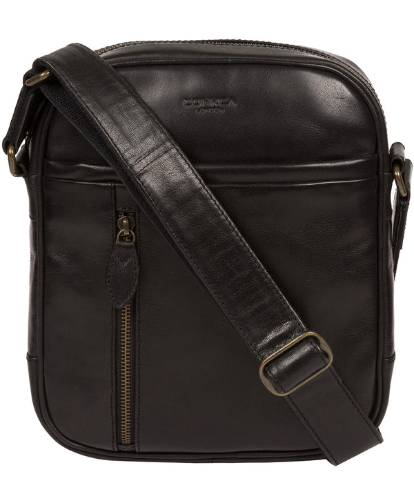 'Carlos' Black Leather Cross Body Bag image 1