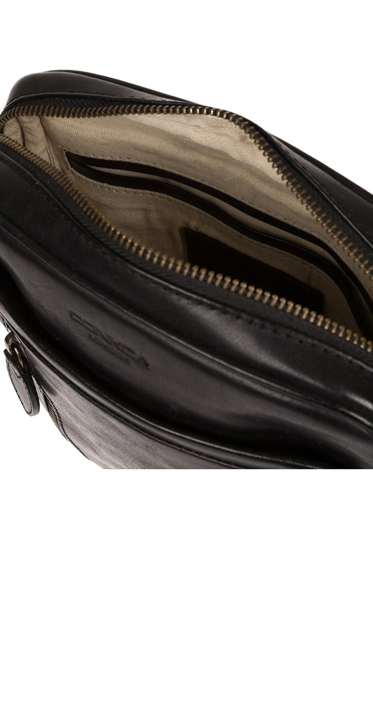 'Carlos' Black Leather Cross Body Bag image 4