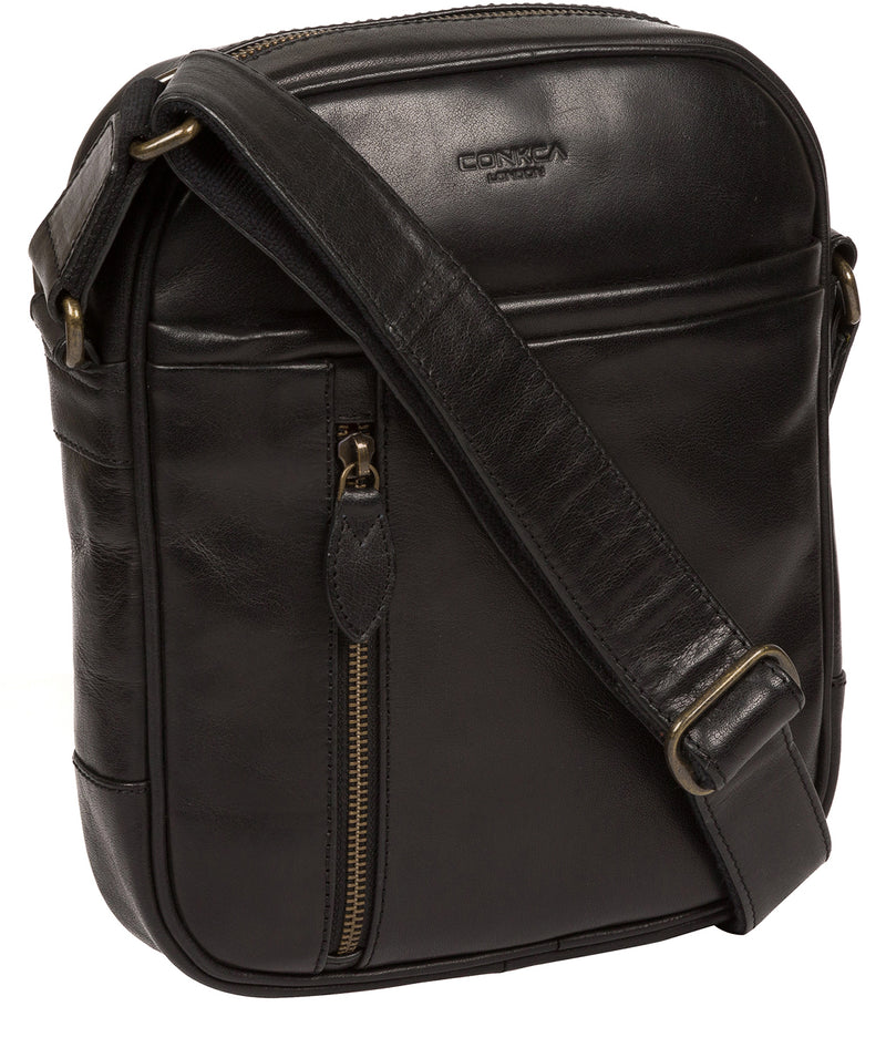 'Carlos' Black Leather Cross Body Bag image 5