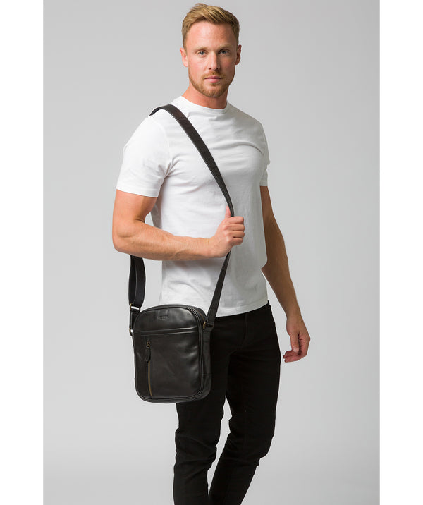 'Carlos' Black Leather Cross Body Bag image 2