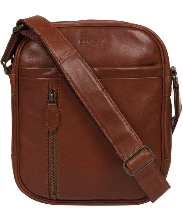 'Carlos' Conker Brown Leather Cross Body Bag image 1