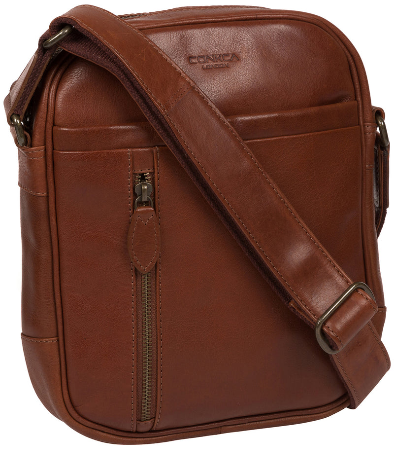 'Carlos' Conker Brown Leather Cross Body Bag Pure Luxuries London