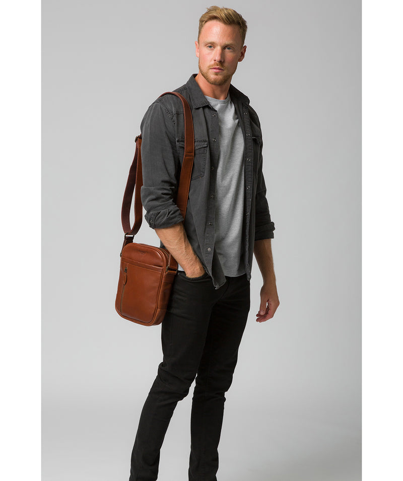 'Carlos' Conker Brown Leather Cross Body Bag image 2