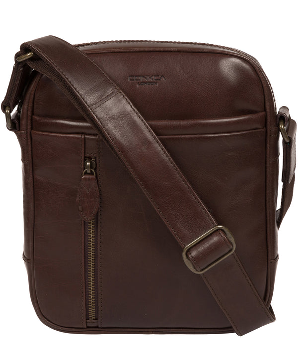 'Carlos' Dark Brown Leather Cross Body Bag image 1