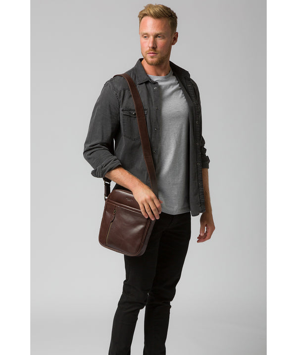 'Carlos' Dark Brown Leather Cross Body Bag image 2