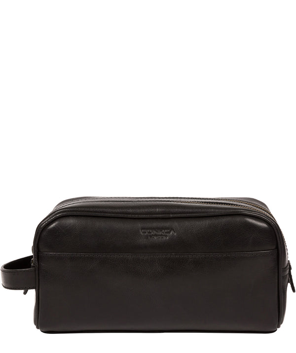 'Alberto' Black Leather Washbag image 1