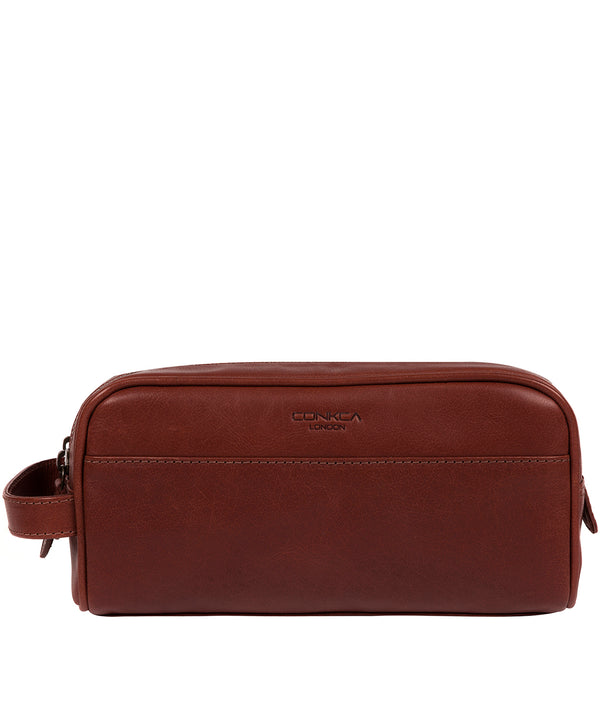 'Alberto' Conker Brown Leather Washbag