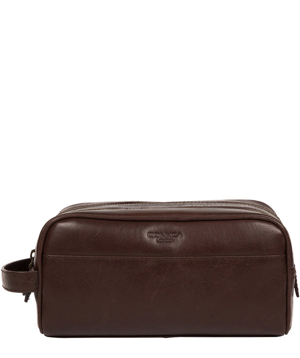 'Alberto' Dark Brown Leather Washbag image 1