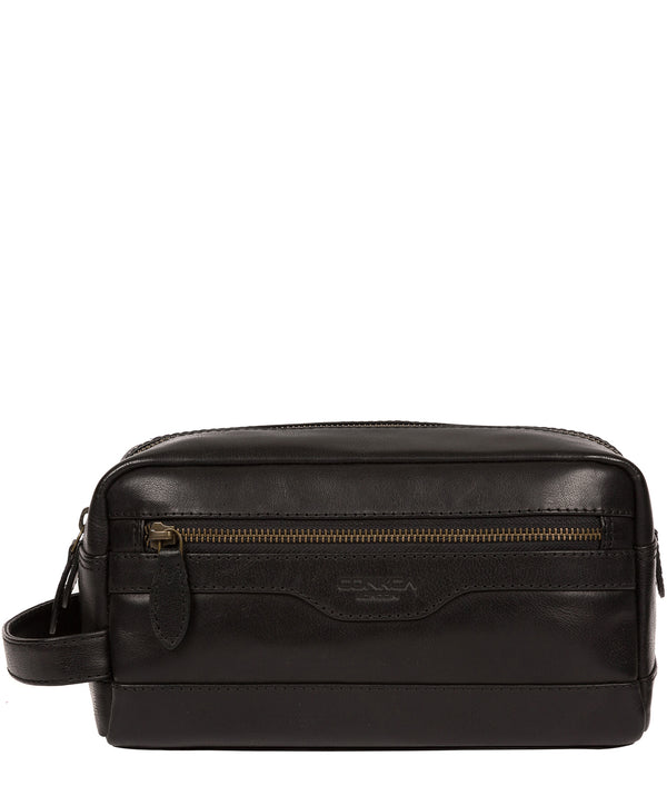 'Careca' Black Leather Washbag image 1