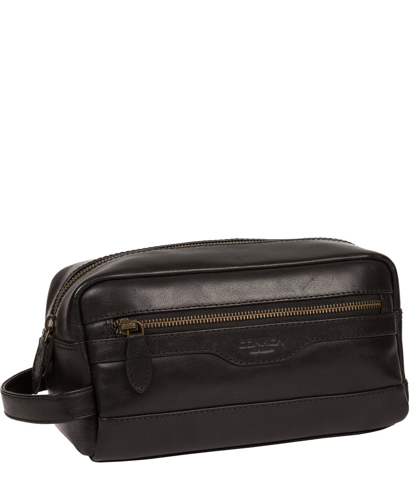 'Careca' Black Leather Washbag image 5